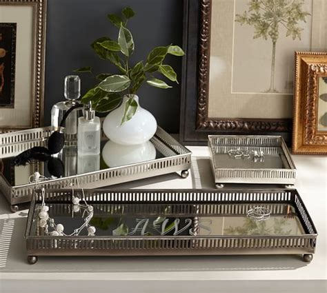 decorative trays for bedroom mirrored dresser top trays pottery barn