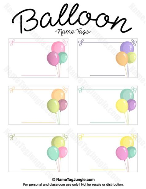 Balloon Card Template by Free Printable Balloon Name Tags The Template Can Also Be