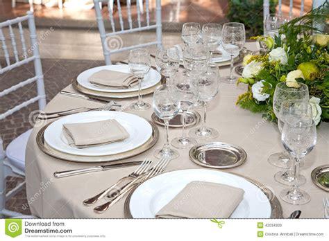 une table mise pour une r 233 ception image stock image du