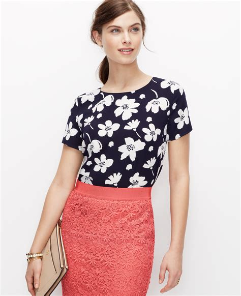 43073 Blue Flower Blouse graphic floral print blouse in blue lyst