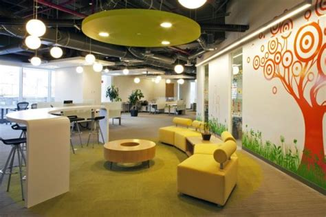 colorful corporate office interior design by space