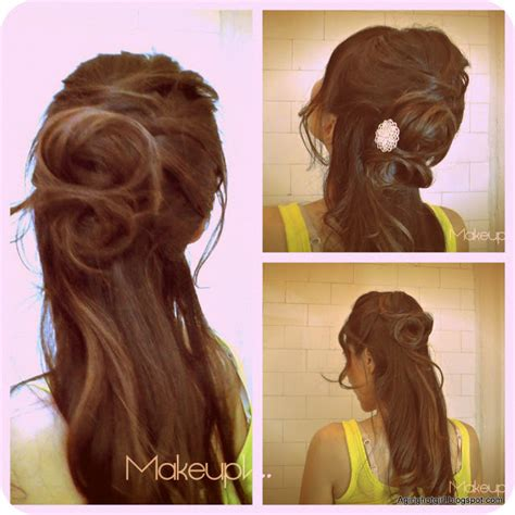 rose hairstyle half up half down angelina jolie inspired how to flower bun chignon updo