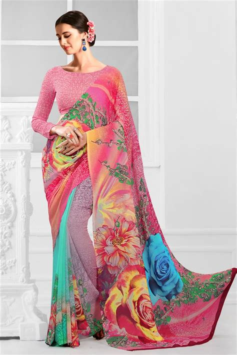 which colour blouse suits for pink saree buy fancy print pink color daily wear georgette saree with
