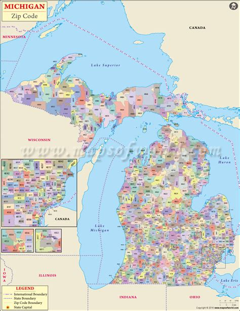 buy michigan zip code map
