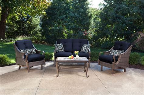 hanover ventura  piece wicker outdoor conversation set