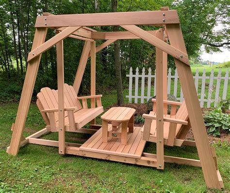 swing table framed four seat cedar swing w center platform table