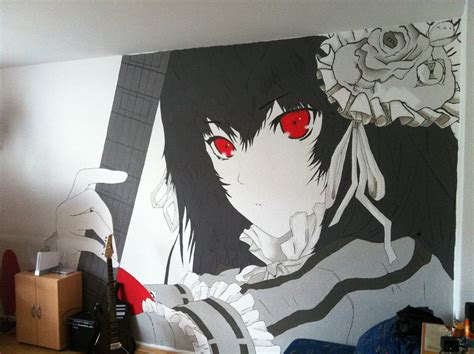 painting a mural on a wall with acrylic paint mural anime painting by theseraphion on deviantart