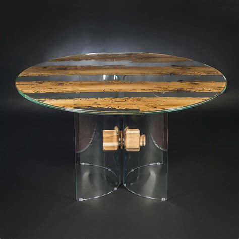 tavolo tondo vetro tavolo rotondo di design in legno di briccola veneziana e