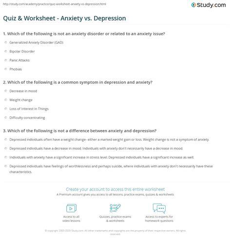 quiz worksheet anxiety  depression studycom