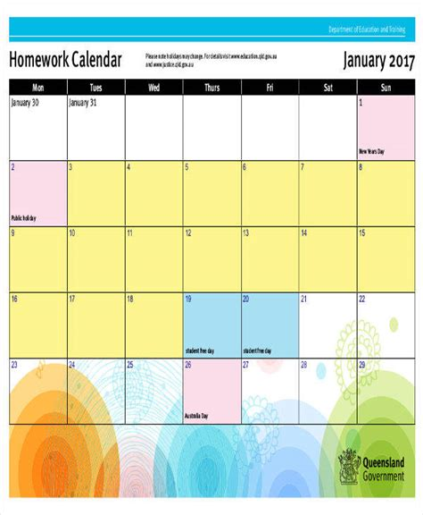 homework calendar templates best resumes