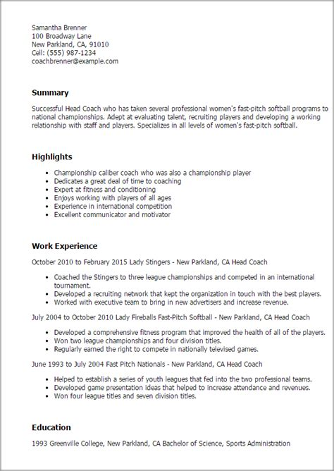 Professional Head Coach Templates To Showcase Your Talent Myperfectresume Coaching Resume Template
