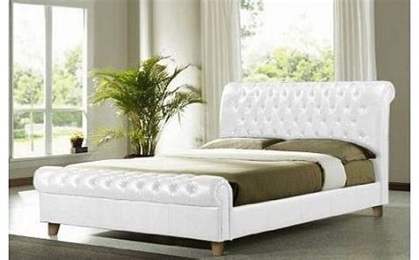White Leather Sleigh Bed Frame White Sleigh Bed