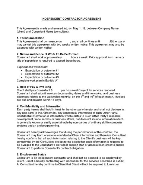 Template For Independent Contractor Agreement sample consulting contract