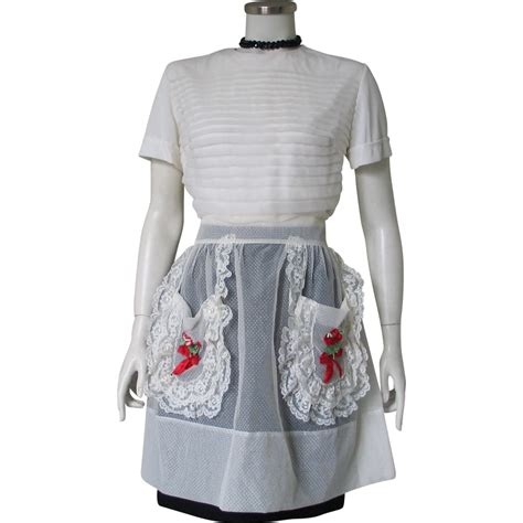 Tesco Dotted Swiss Smock Top by Vintage 1960s Sheer White Dotted Swiss Apron With