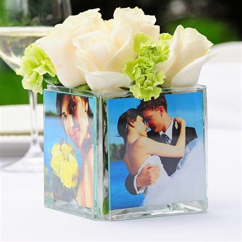 photo centerpieces square glass photo centerpiece vase
