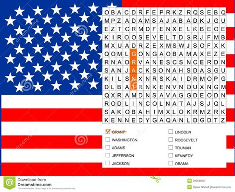 Cracker Architecture by Word Search Game Find The Nine U S Presidents Stock