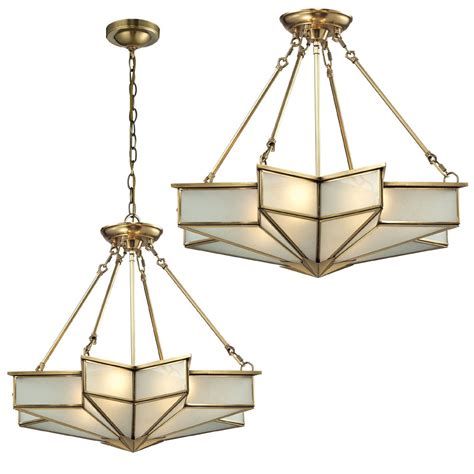 Elk 22012 4 Decostar Modern Brushed Brass Ceiling Lighting Hanging Light