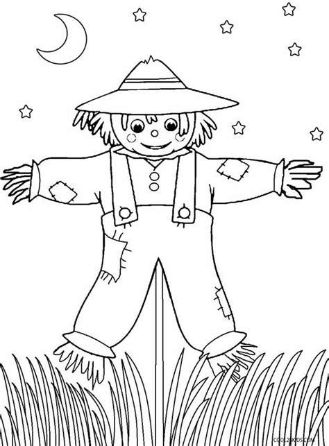 free coloring pages of girl scarecrow