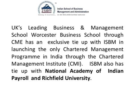 Mba In Construction Management In Mumbai by Isbm Mba Degree Value And Reviews