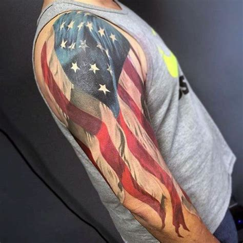 american quarter sleeve tattoo 90 patriotic tattoos for men nationalistic pride design