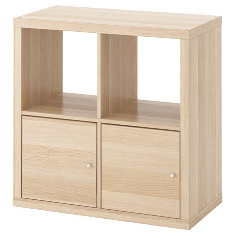 etagere 55 cm kallax shelving unit with doors white stained oak effect