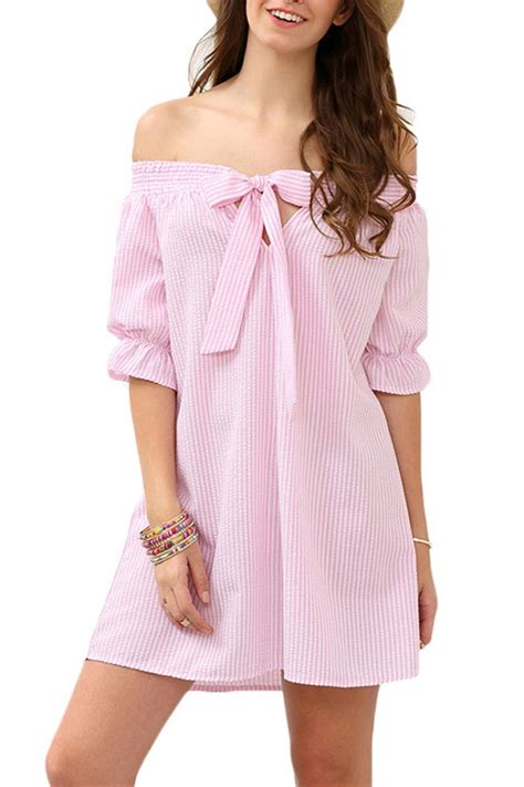 pink stripe  shoulder bow decor cute dress  casual
