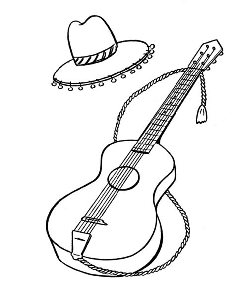 spanish guitar coloring page bluebonkers spanish guitar and hat with tassels simple