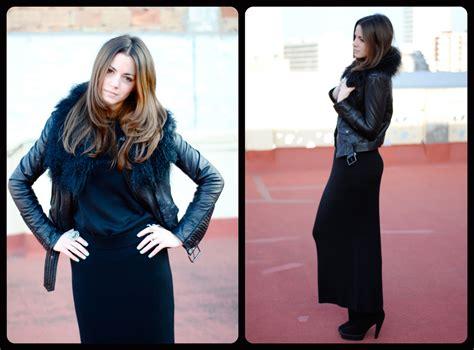 zina ch black fur black leather jacket black maxi