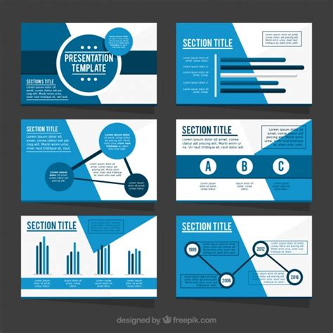 Template Of Business Presentation In Blue Tones Vector Free Download Presenting A Business Template