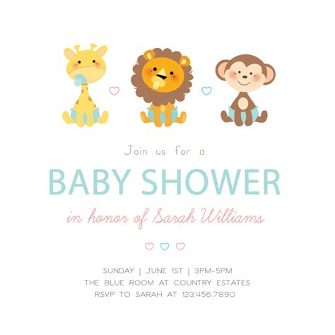 cute baby animals baby shower invitation template