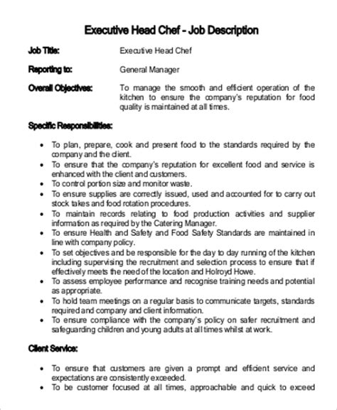 chef description uk cooking description resume chef resume templates exles
