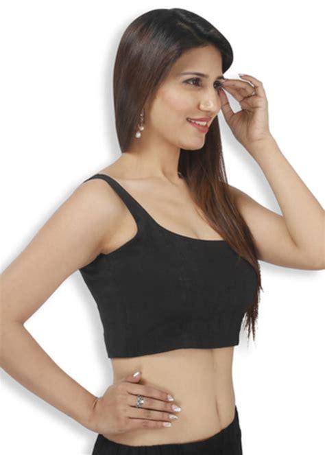 sleeveless blouse buy black bengal silk embroidery padded readymade