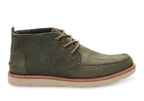 toms tarmac olive suede grain leather s chukka