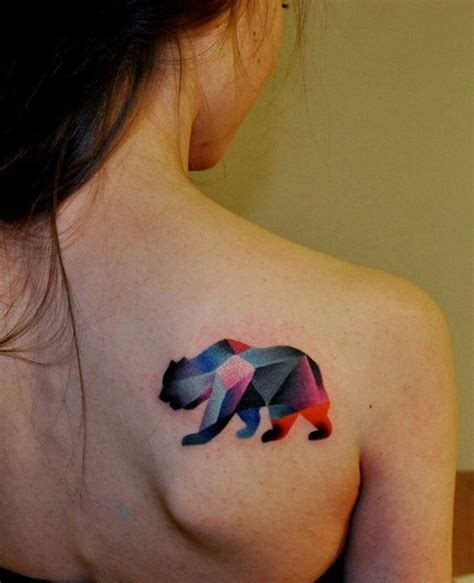 Geometric Bear Tattoo | geometric bear best tattoo ideas designs