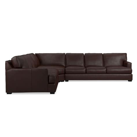 Wedge Sofa Sectional Jackson 3 L Shaped Leather Wedge Sofa Sectional Williams Sonoma