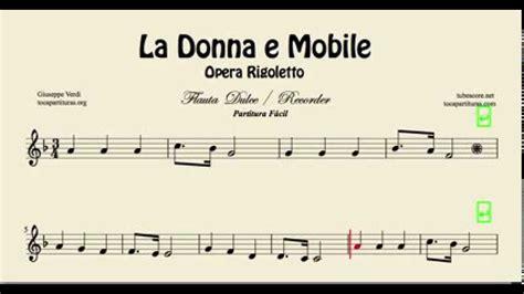 la donna e mobile easy sheet for flute opera