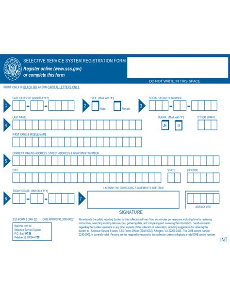service registry selective service registration form california free