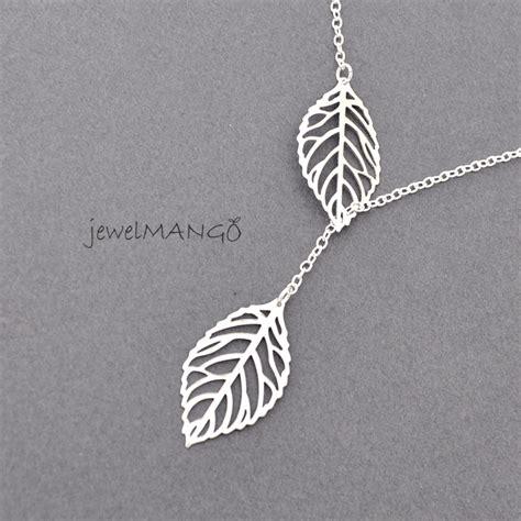 Leaf Necklace lariat leaf necklace leaves necklace leaf charm leaf