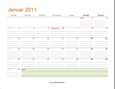 Kalender 201 Mit Feiertagen Kalendervorlagen 2011 Office Lernen Seite 2 4