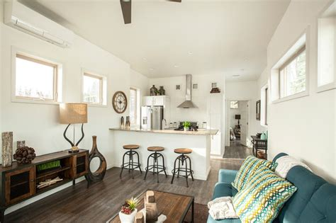 Tumbleweed Cottages by Hgtv Quot Tiny House Hunters Quot Transitional Living Room