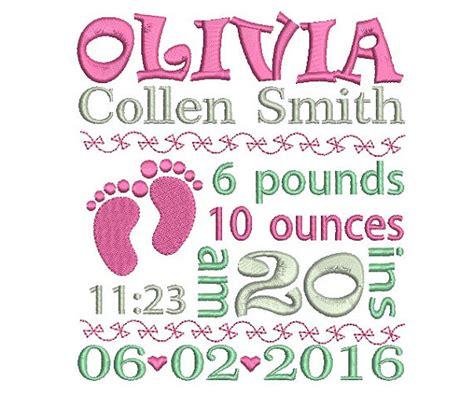 embroidery design birth announcement birth announcement embroidery design baby birth by