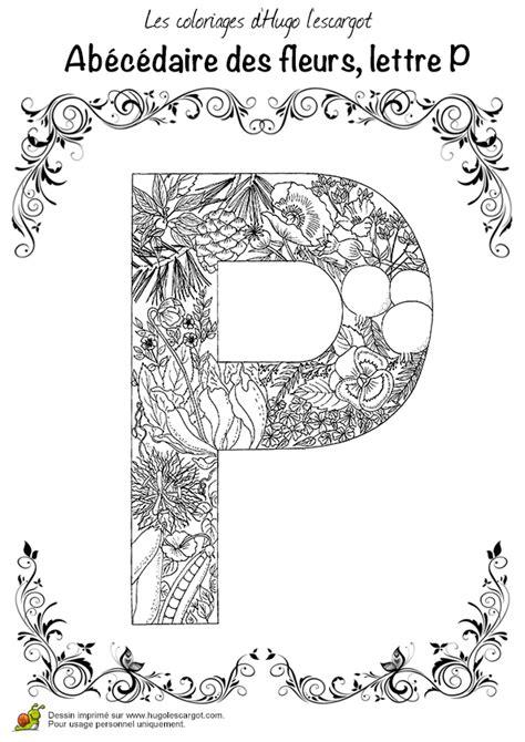 Coloriage Abecedaire Belles Fleurs A Lettre P Sur Coloriage Difficile En Ligne L