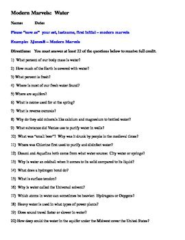 Contemporary Film History Quiz Answers | question sheet for quot modern marvels water quot dvd by bio mom