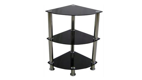 Black Glass Corner Shelf by Corner Black Glass Stand 3 Tier Homegenies