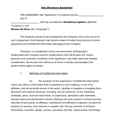 employee non disclosure agreement template 19 word non disclosure agreement templates free