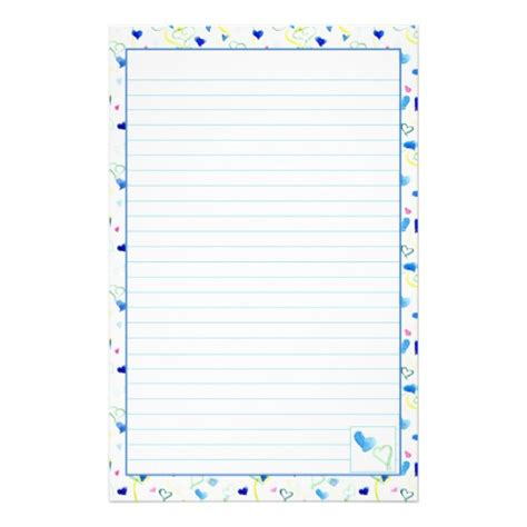 writing paper stationery blue hearts lined stationery letter writing paper