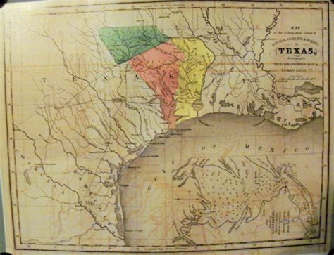 texas land grants map texas 1835 land grant map galveston bay reprint ebay
