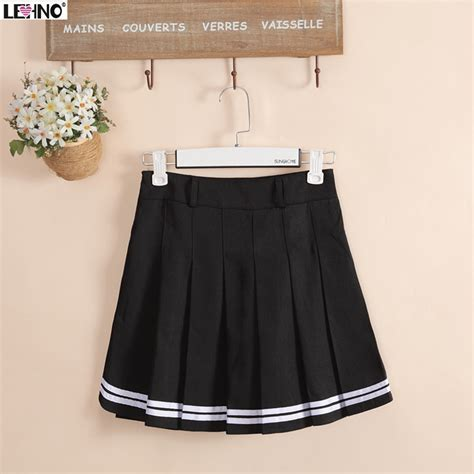japan fashion preppy style black skirts hem with white