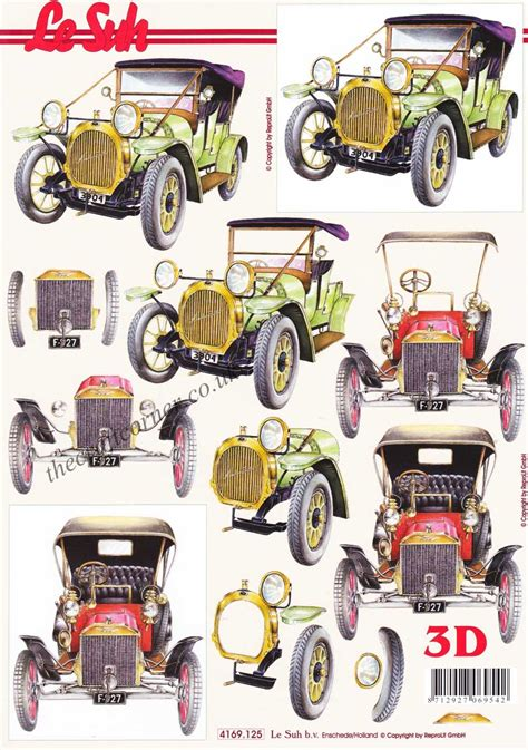 decoupage car vintage cars 3d decoupage craft sheet