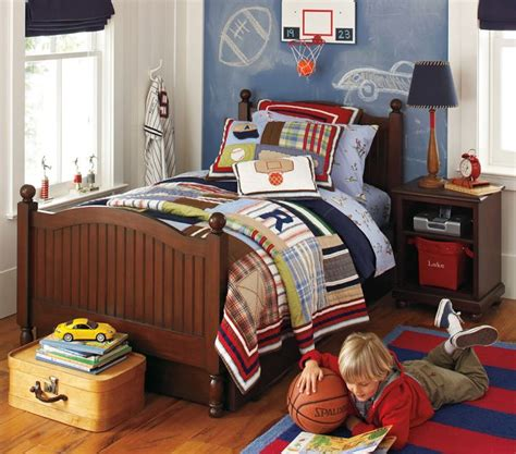 sports themed boys room red white and blue plaid sports themed boys room